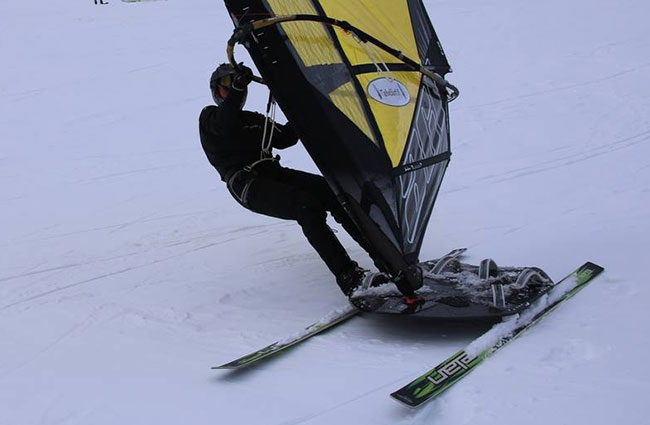 Windsurfing on snow